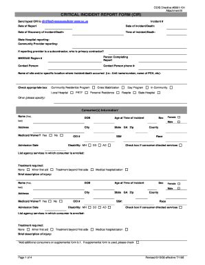 serious incident report template army serious incident report form