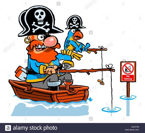 cartoon man in boat fishing cartoon caricature of pirate and parrot fishing in a boat