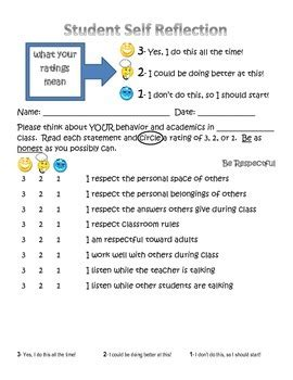 student behavior self reflection student self reflection form by the creative apple tpt