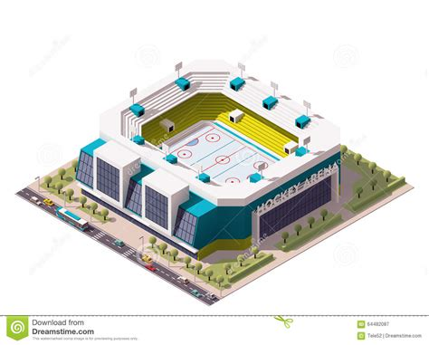 layout of vector arena vector isometric ice hockey arena stock vector image