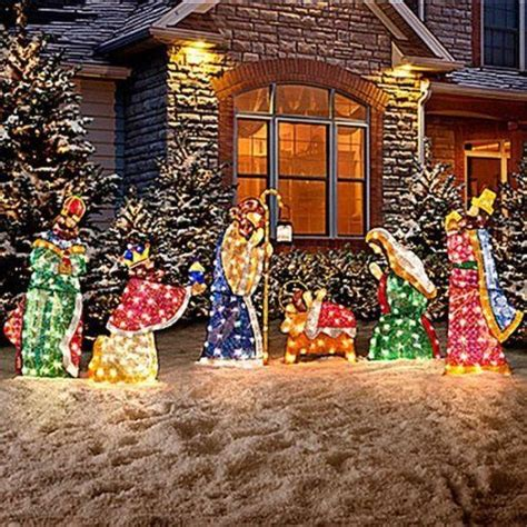 jesus outside christmas lights set of 6 lighted holy family wisemen shimmering nativity set sequin tinsel fabric pvc