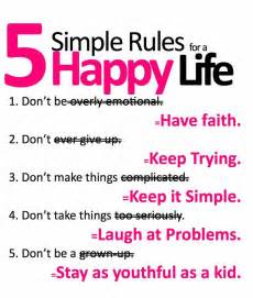 beauty quotes happy life is about five simple rules and