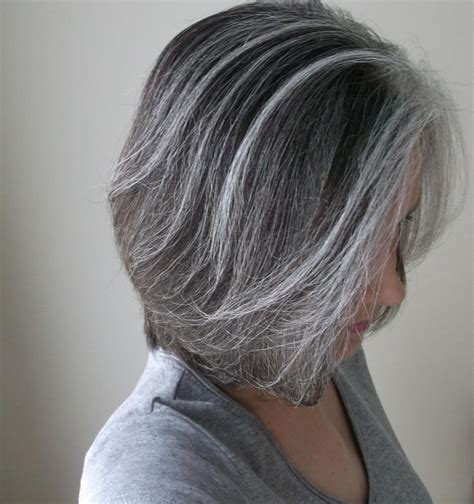 grey streaked hair styles blended grays highlights pinterest gray gray hair