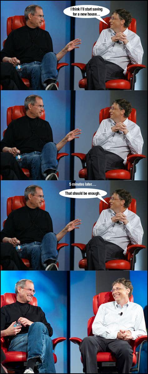 Bill Gates And Steve Jobs Meme - 7 funny steve jobs vs bill gates meme jokes