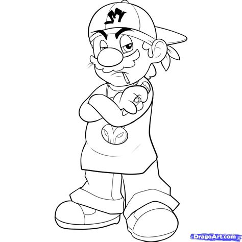 Gangster Mario Coloring Pages | how to draw gangster mario step by step video game