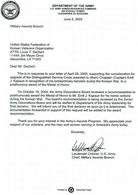 Letter Of Recommendation Army 9 best images of army promotion board memo sle letter