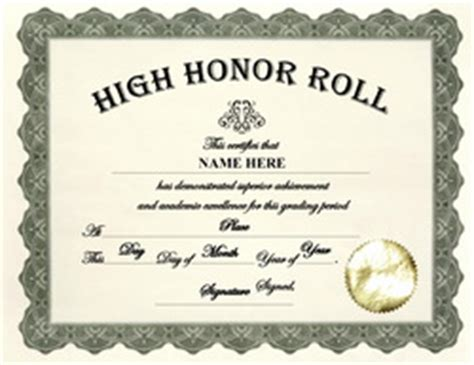 honor roll certificate templates word search results