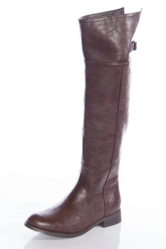 knee high pleather boots brown from boots at