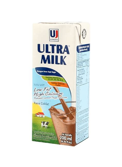 Ultra Milk Coklat 200ml ultra cair low hi calcium coklat tpk 200ml