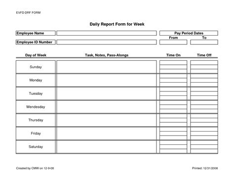 Employee Daily Report Template employee daily report form for week template sle