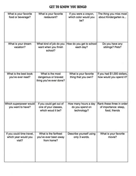 get to you bingo card template 2 free day activities get to you bingo