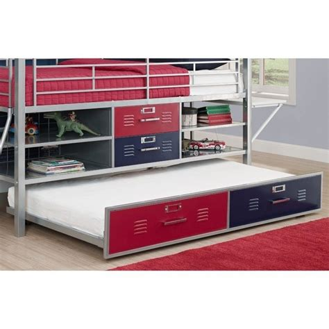locker bed trundle for twin silver locker bed in blue and red 5565196