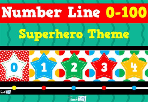 printable display number line to 100 number line to 100 superhero theme printable teacher