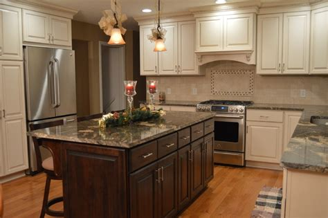 Painted And Stained Kitchen Cabinets | kitchen renovation designed with combo painted stained