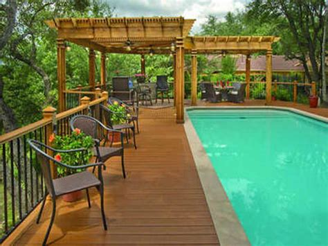 cool pool ideas cool pool deck ideas with flower pots and seating and pergolas outdoor cool pool deck ideas