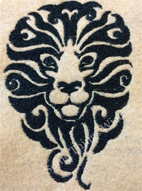 tribal pattern header tribal lion head machine embroidery design by