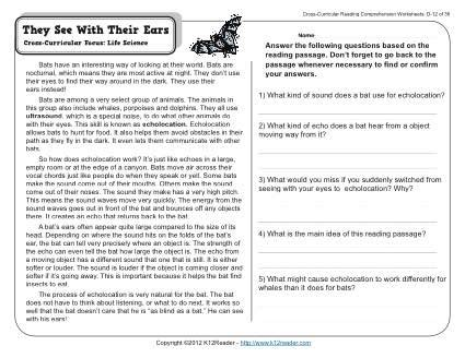 they see with their ears 4th grade reading comprehension