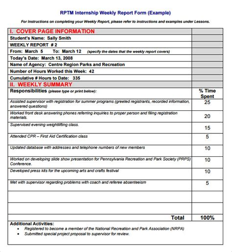 internship report template 15 weekly report templates free sles exles