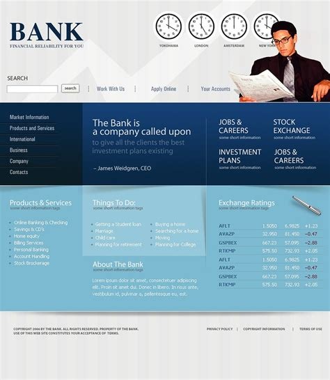 banking templates for a website bank website template 12966