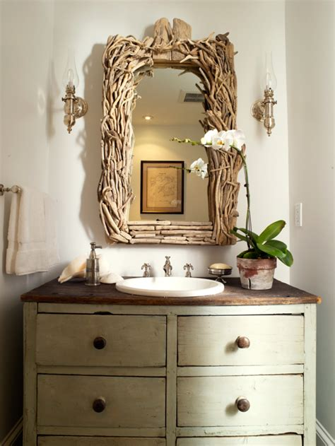driftwood bathroom mirror vintage washstand cottage bathroom orrick and company