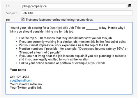 email template for successful online job applications