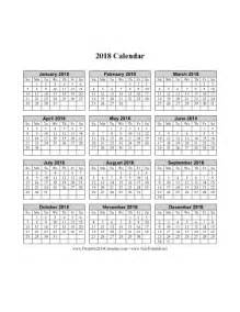 2018 Calendar One Page Printable 2018 Calendar On One Page Vertical Grid