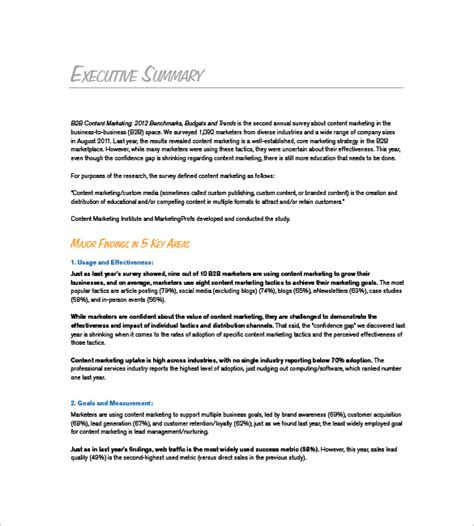 Marketing Plan Summary Template Marketing Plan Executive Summary Template 16 Free Sle Exle Format Download Free