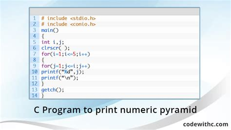 how to print pyramid pattern in java program exle java67 c program to print numeric pyramid code with c