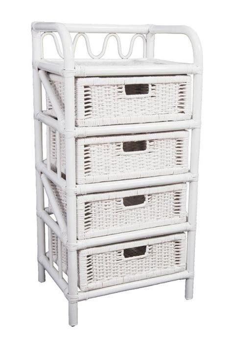 buy wicker valley 4 drawer storage unit white from our