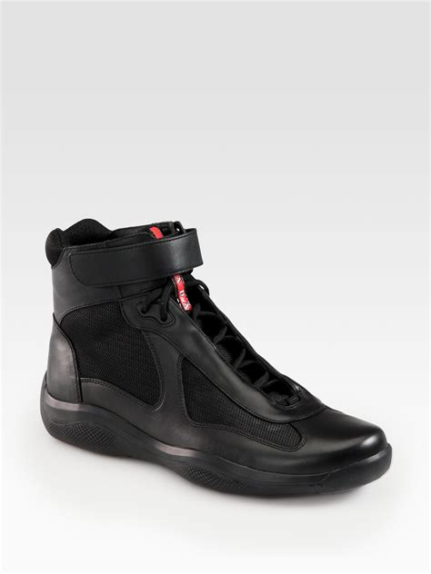 best leather sneakers prada high top leather sneakers in black for lyst