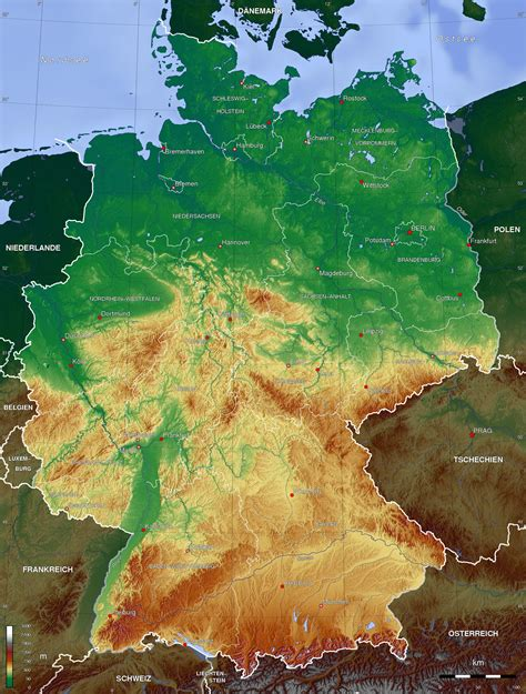 germany topographic map detailed topographic map of germany 2011 x 2654 mapporn