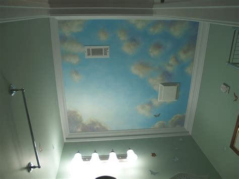 goldilocks and the sky blue ceiling mirror mirror hand crafted blue sky mural on canvas for powder room