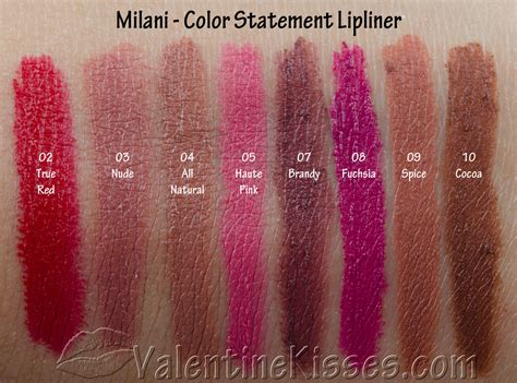 milani color statement lipstick swatches kisses milani color statement lipliner all 8