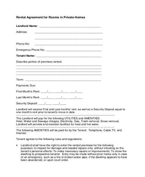 contract room doc 575709 home rental agreement home rental agreement house lease contract form template
