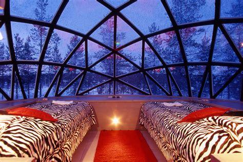glass igloo in kakslauttanen hotel in finland