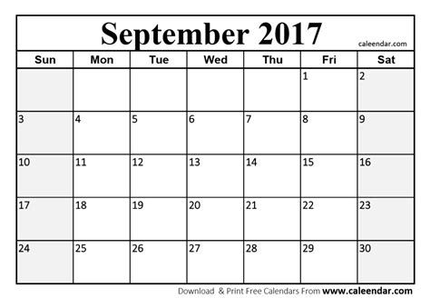 printable calendar 2017 september september 2017 calendar pdf printable template with holidays