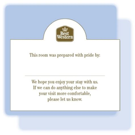 welcome card template hotel best western pride welcome tent card