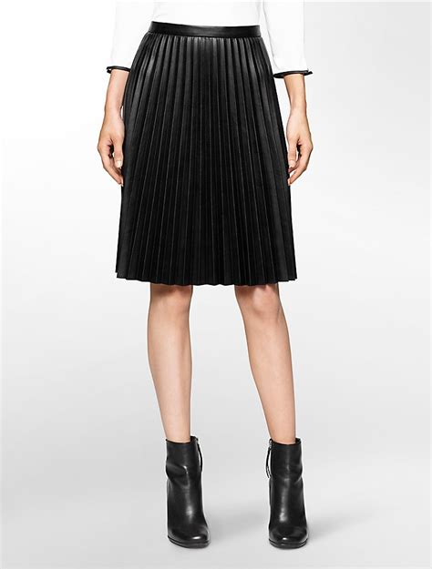 calvin klein womens pleated faux leather skirt ebay