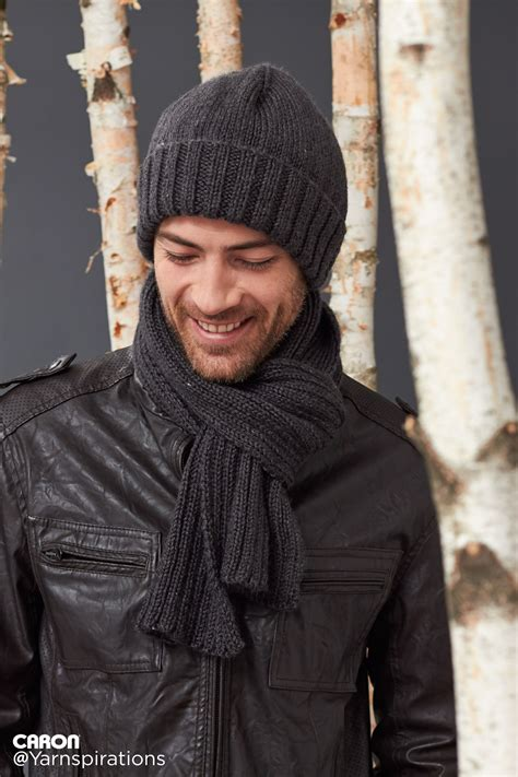 knitting pattern for mens scarf and hat men s basic hat and scarf set gifts for him patterns