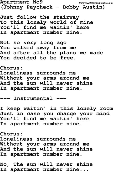 Apartment Lyrics And Chords Apartment No9 By George Jones Counrty Song Lyrics