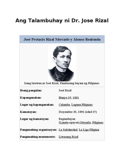 biography ni jose rizal ang talambuhay ni dr jose rizal