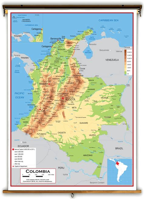 physical map of colombia colombia relief map