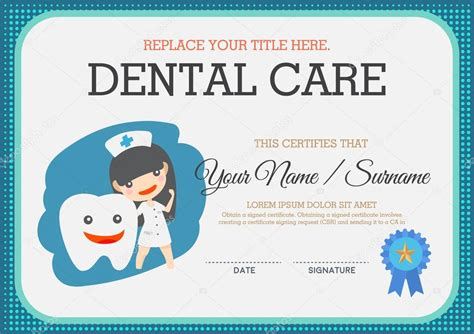 dental gift certificate template dental care certificate suitable for children