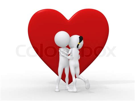 golden couple have big hearts beautiful 3d love couple embracing against a big red heart