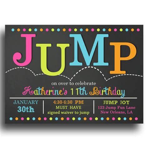 Jump Invitation Printable Jump Bounce Troline Birthday Jump Love Collection Them Free Bounce Invitation Template