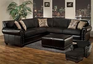 Black Sectional Sofas Avanti Traditional Black Sectional Sofa W Nailhead Accents 757