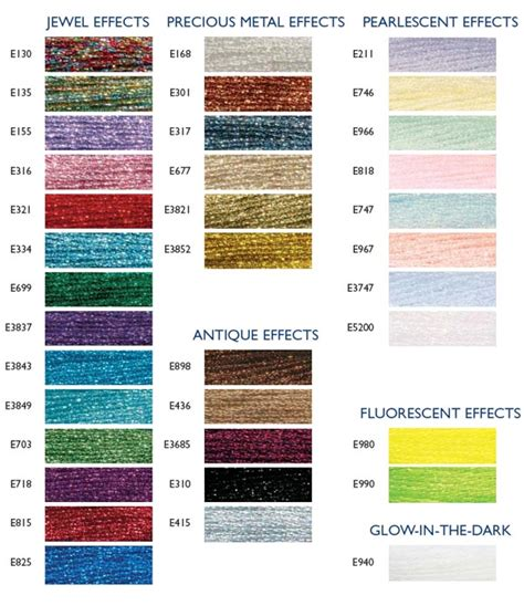 Dmc Light Effects List Of Colors Color Threads Dmc Threads | dmc thread color chart list untitled 1 ayucar com