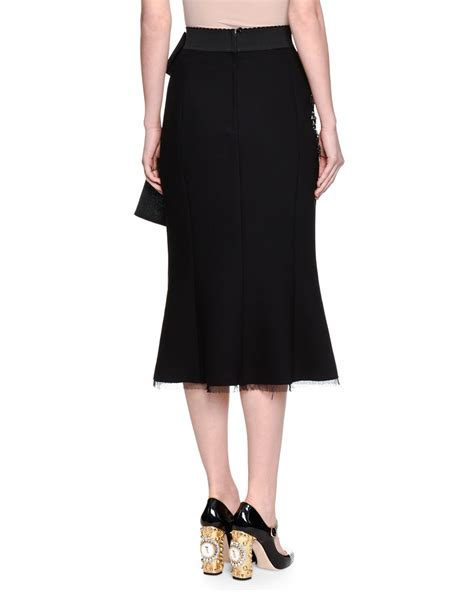 lyst dolce gabbana tiered tulle maxi skirt in black