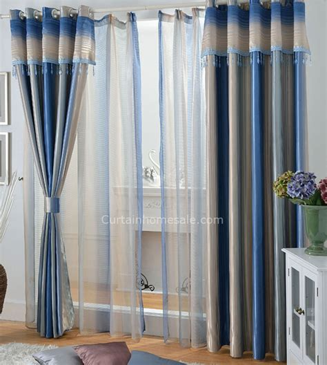 Lounge Curtains Blue Striped Blackout Lounge Curtains Ideas For Living Room