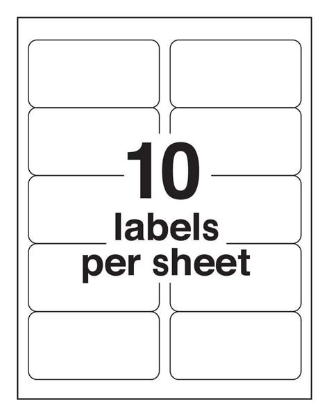Avery 10 Labels Per Sheet Template Ondy Spreadsheet Avery 2x4 Label Template